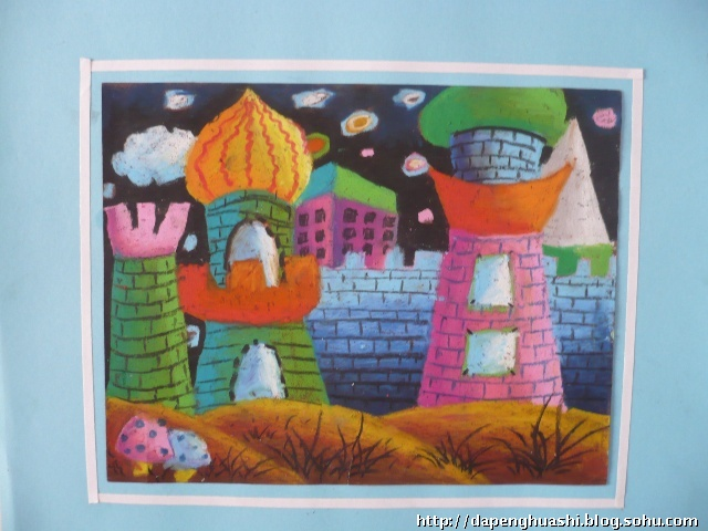 校园儿童画,  我的美丽校园儿童画