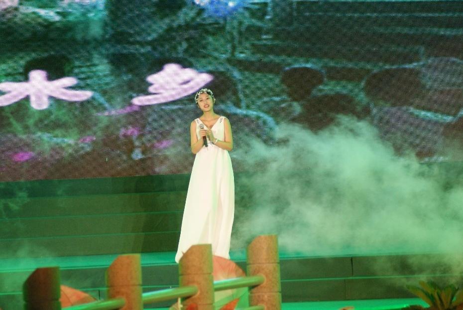 我第一个出场,倾情演唱了晚会主题曲《梦里水乡》,甜美的旋律立即拉近了我和观众的距离。