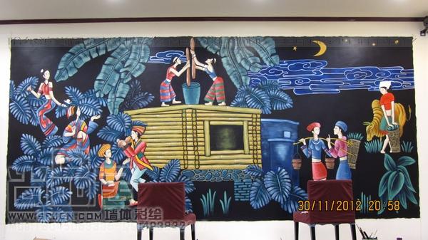 哈尔滨手绘墙公司 尚品居作品—黔香阁饭店壁画
