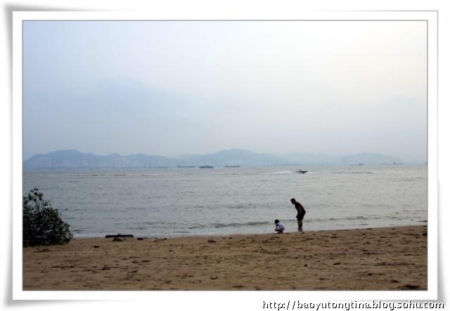 爸爸在海边捡贝壳简笔画