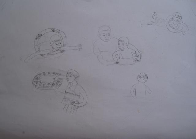 我打开电脑的相片给扬参照,他就开始用铅笔起稿,我发现他这次的人物画