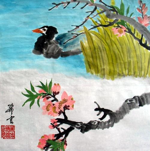 春天的画桃花鸭子
