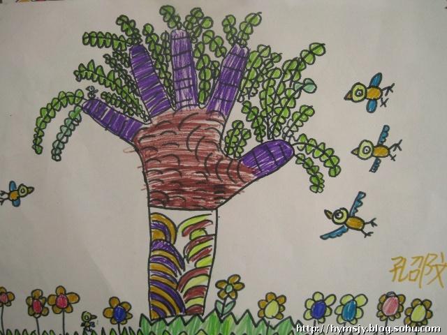 幼儿创意手型画 中班幼儿创意美术画幼儿手工作品