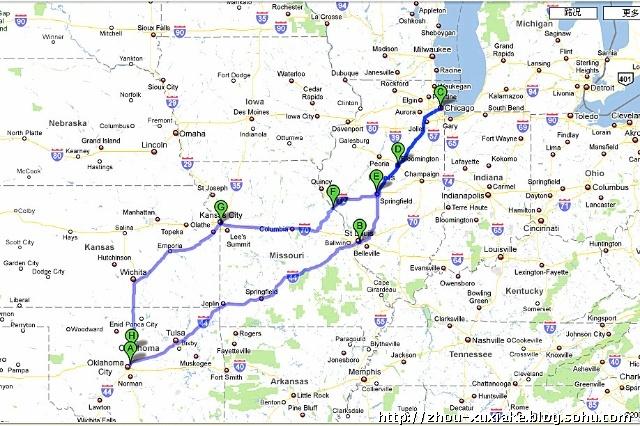 美国中北部自驾游地图