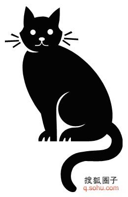 黑色卡通猫表情包