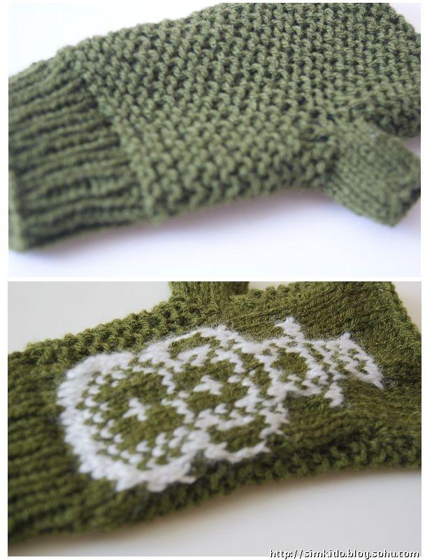帮儿子编织的提花手套