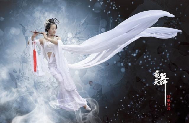 白衣古装飘逸仙女手绘
