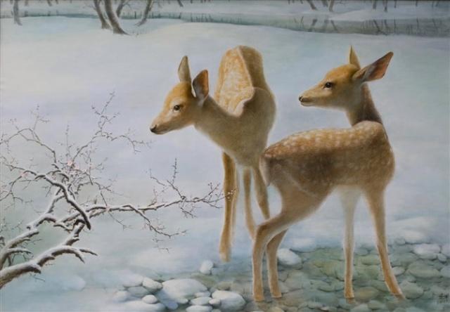 鹿题材油画创作——金色之鹿系列之二