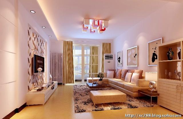 丰台阅园小区100平现代简约两居室装修客厅设计效果图