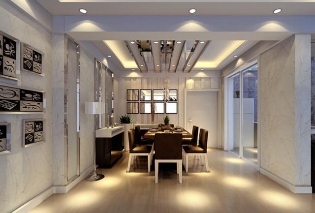 整个房间采用了不锈钢拉丝边框造型,内部的底衬的暗纹墙纸更加凸出了