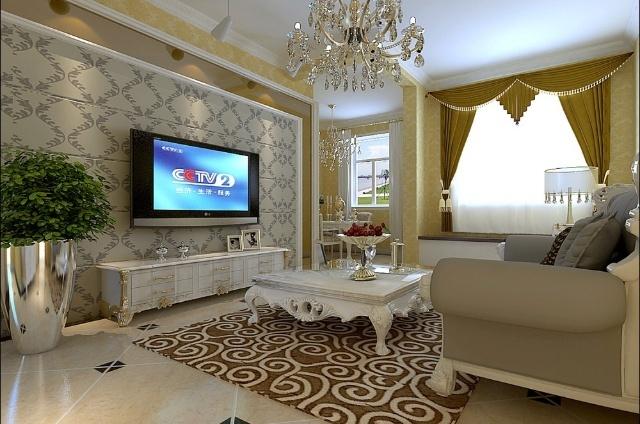实创装饰 双合家园90平米简欧风格装修效果图 高清图片